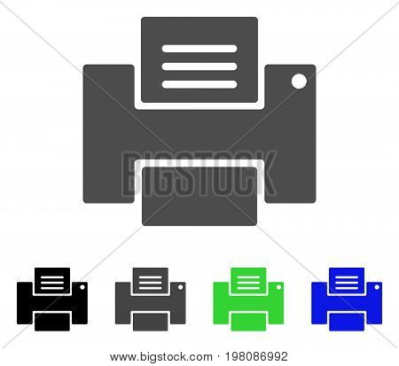 Printer flat vector pictogram. Colored printer, gray, black, blue, green pictogram versions. Flat icon style for graphic design.
