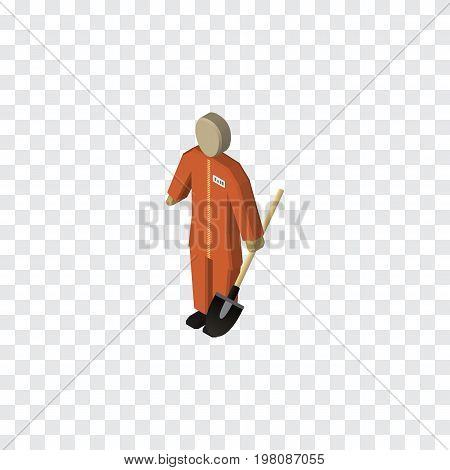 Cleaner Vector Element Can Be Used For Cleaner, Builder, Laborer Design Concept.  Isolated Laborer Isometric.