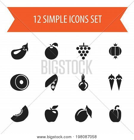 Set Of 12 Editable Dessert Icons. Includes Symbols Such As Sativum, Honeycrisp, Chili And More