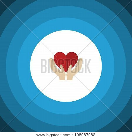 Save Love Vector Element Can Be Used For Care, Heart, Hand Design Concept.  Isolated Care Flat Icon.