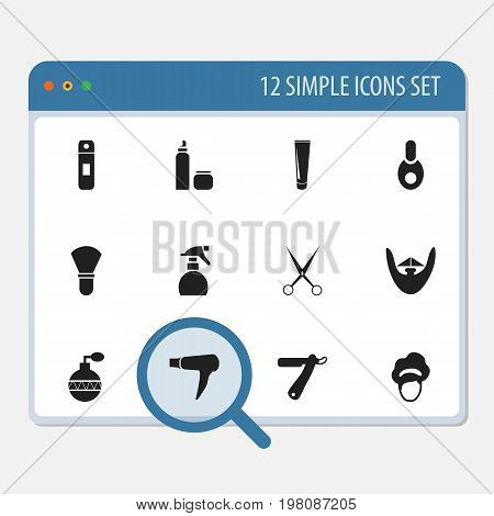 Set Of 12 Editable Tonsorial Artist Icons. Includes Symbols Such As Blow Dryer, Vial, Knife And More
