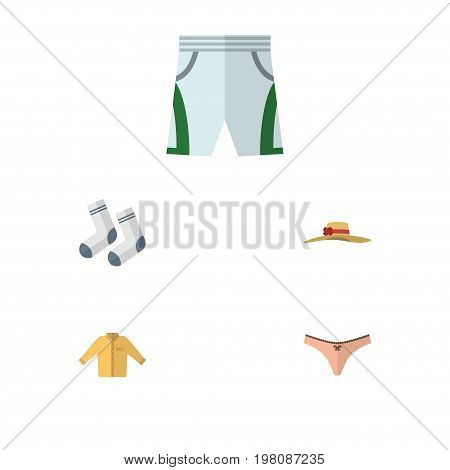 Flat Icon Garment Set Of Lingerie, Banyan, Trunks Cloth And Other Vector Objects