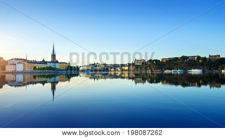 Stockholm city at summer in early morning