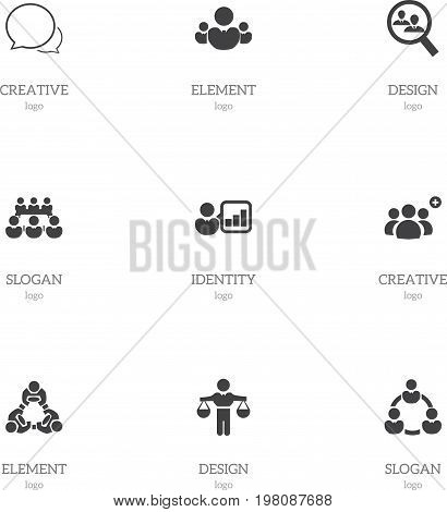 Set Of 9 Editable Team Icons. Includes Symbols Such As Introducing, Cooperation, Debate And More