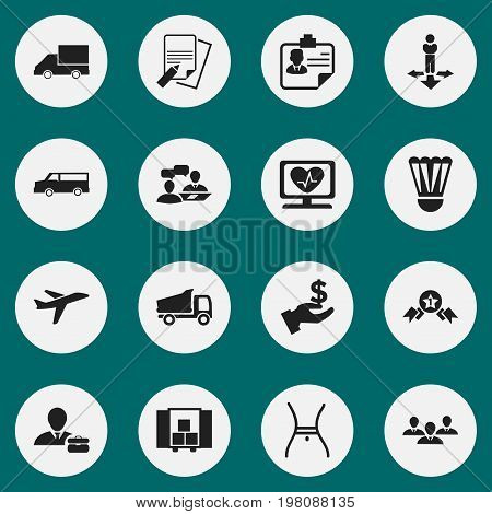 Set Of 16 Editable Complicated Icons. Includes Symbols Such As Finding Solution, Truck, Aircraft And More
