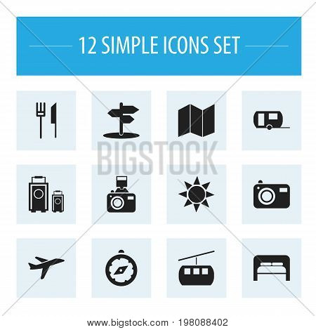 Set Of 12 Editable Travel Icons. Includes Symbols Such As Vacation, Crossroad, Snapshot And More