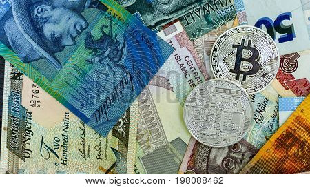 Bitcoin on banknote collage background. Electronic money exchange concept.