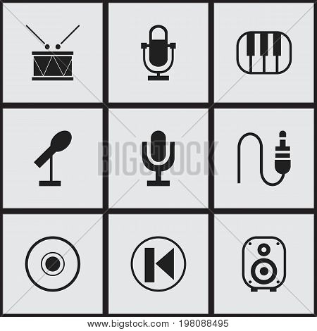 Set Of 9 Editable Melody Icons. Includes Symbols Such As Phonogram, Speaker, Mike And More