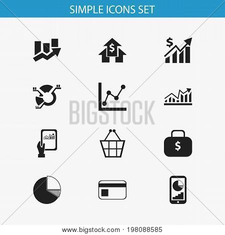 Set Of 12 Editable Logical Icons. Includes Symbols Such As Revenue, Trading Purse, Graph Information And More