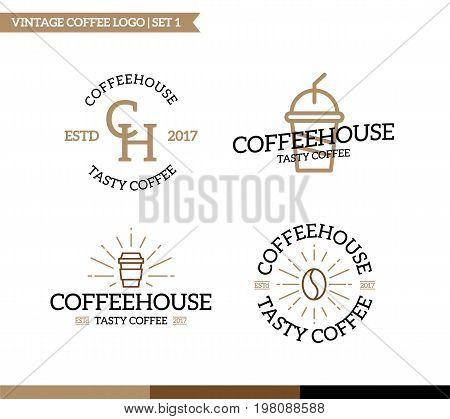 Set of vintage coffee shop logo, badge and element design.