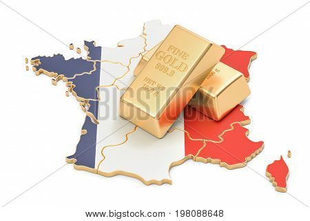 Foreign-exchange reserves of France concept 3D rendering isolated on white background