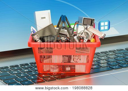 Online Shopping concept with laptop and shopping basket full of home appliances 3D rendering