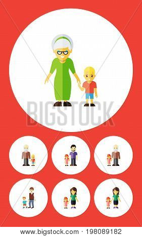 Flat Icon Relatives Set Of Grandma, Grandson, Boys Vector Objects