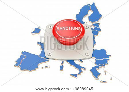 Sanctions button on map of European Union 3D rendering isolated on white background