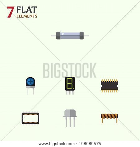 Flat Icon Device Set Of Mainframe, Microprocessor, Bobbin And Other Vector Objects