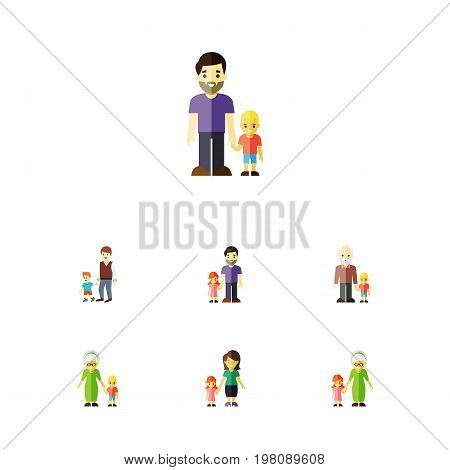 Flat Icon Family Set Of Father, Grandchild, Grandma Vector Objects