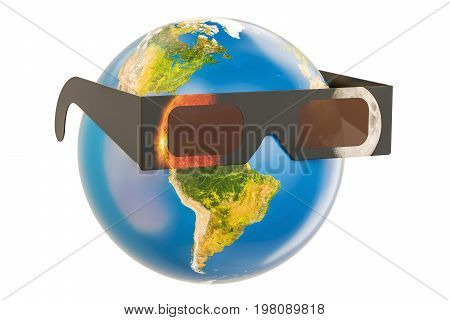 Solar Eclipse concept Earth Globe with solar eclipse glasses. 3D rendering isolated on white background