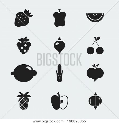 Set Of 12 Editable Berry Icons. Includes Symbols Such As Radish, Seedless, Bitten And More