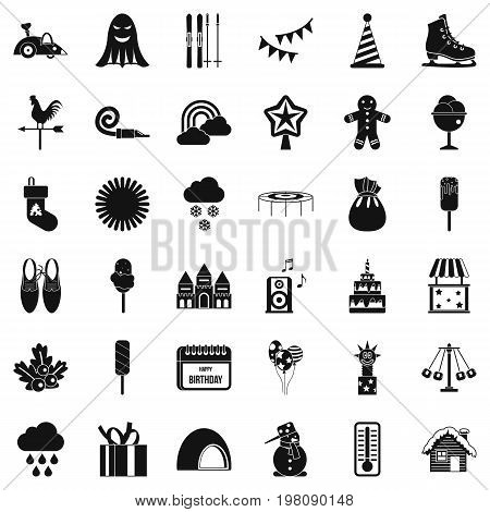 Children celebration icons set. Simple style of 36 children celebration vector icons for web isolated on white background