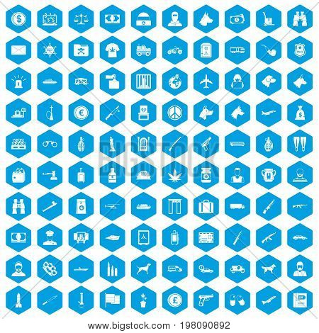 100 smuggling  icons set in blue hexagon isolated vector illustration