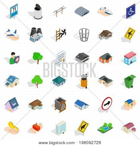 Public park icons set. Isometric style of 36 public park vector icons for web isolated on white background