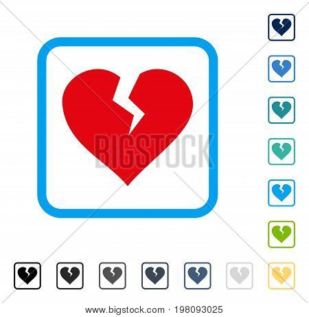 Heart Break icon inside rounded square frame. Vector illustration style is a flat iconic symbol in some color versions.