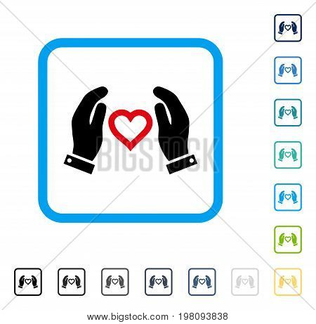 Love Care Hands icon inside rounded rectangle frame. Vector illustration style is a flat iconic symbol in some color versions.