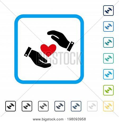 Love Heart Care Hands icon inside rounded square frame. Vector illustration style is a flat iconic symbol in some color versions.