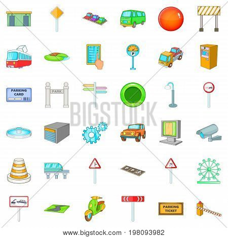 City navigation icons set. Cartoon style of 36 city navigation vector icons for web isolated on white background
