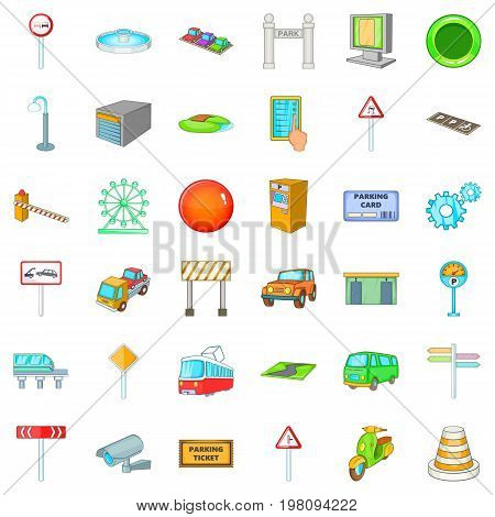 City location icons set. Cartoon style of 36 city location vector icons for web isolated on white background