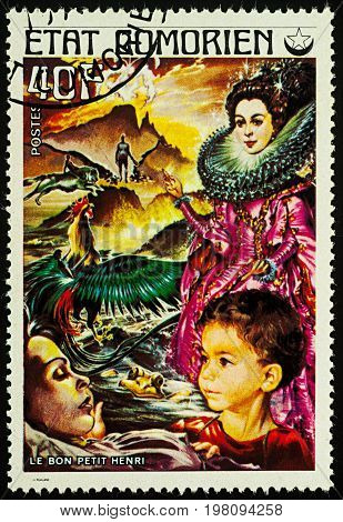 Moscow Russia - August 02 2017: A stamp printed in Comoros shows scene from a fairy tale
