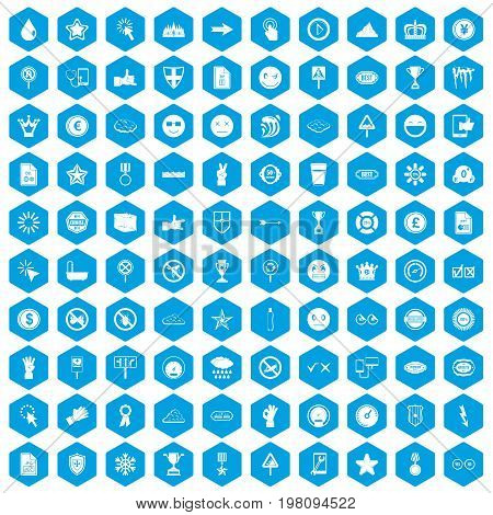 100 symbol icons set in blue hexagon isolated vector illustration