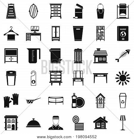 Housework icons set. Simple style of 36 housework vector icons for web isolated on white background
