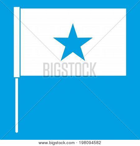 Vietnam flag icon white isolated on blue background vector illustration