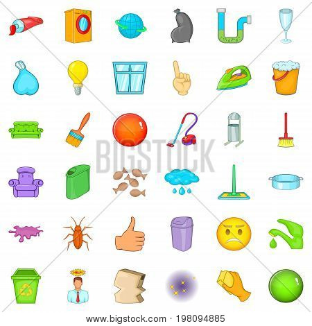 Cleaning work icons set. Cartoon style of 36 cleaning work vector icons for web isolated on white background