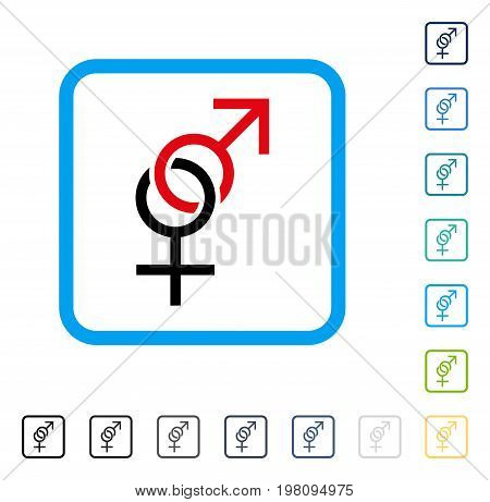 Sex Symbol icon inside rounded rectangle frame. Vector illustration style is a flat iconic symbol in some color versions.