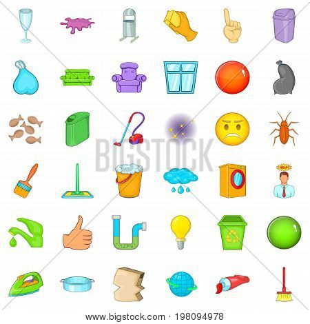 Cleaning icons set. Cartoon style of 36 cleaning vector icons for web isolated on white background