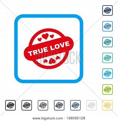 True Love Stamp Seal icon inside rounded square frame. Vector illustration style is a flat iconic symbol in some color versions.