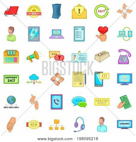 Free support icons set. Cartoon style of 36 free support vector icons for web isolated on white background