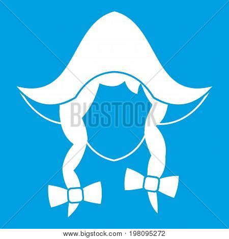 Girl dutch icon white isolated on blue background vector illustration