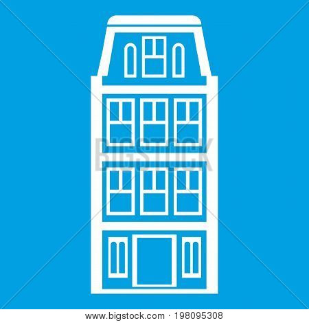Dutch houses icon white isolated on blue background vector illustration
