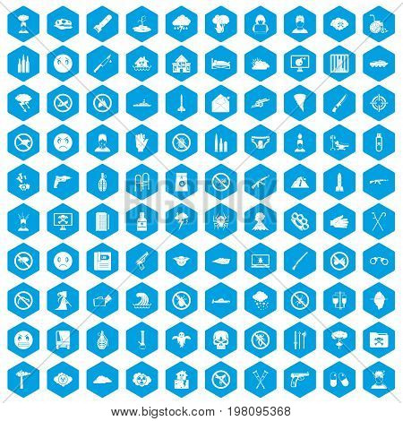 100 tension icons set in blue hexagon isolated vector illustration