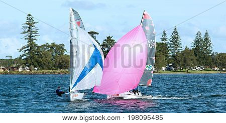 Children Sailing in the Australian Combined High School Sailing Championships. Wednesday 17.04.2013. Belmont Lake Macquarie New South Wales Australia.