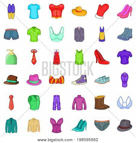 Clothing accessories icons set. Cartoon style of 36 clothing accessories vector icons for web isolated on white background