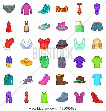 Fashion clothes icons set. Cartoon style of 36 fashion clothes vector icons for web isolated on white background