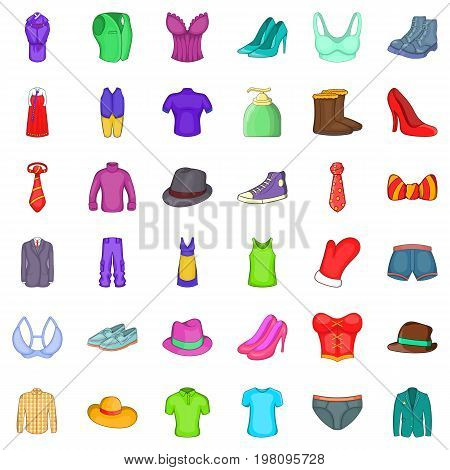 Stylish clothes icons set. Cartoon style of 36 stylish clothes vector icons for web isolated on white background