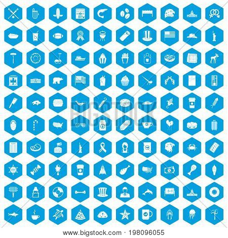 100 USA icons set in blue hexagon isolated vector illustration