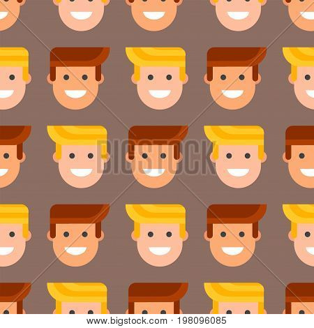Men head portrait seamless pattern friendship character team happy people young guy person vector illustration. Handsome teamwork casual fashion friends background.