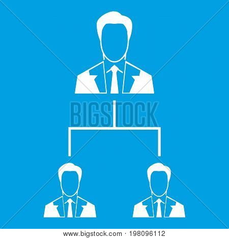 Company structure icon white isolated on blue background vector illustration