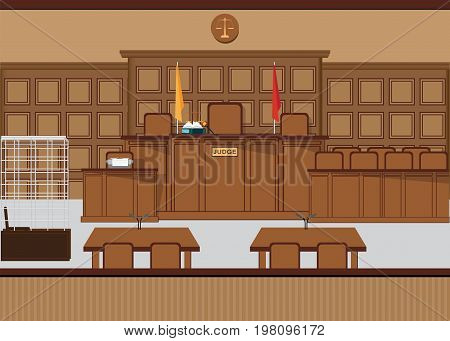 Court of law hall with wooden furniture Judicial court interior vector illustration.